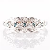Vintage 1930's 14k White Gold Round Cut Blue Diamond Floral Style Ring .08ctw