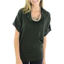 S WOW Couture Hunter Green & Beige Dolman Sleeve Loose Turtleneck Sweater A210