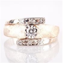 Vintage 1950's 14k Yellow & White Gold Round Diamond Band / Ring .26ctw
