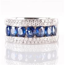 14k White Gold Oval Cut Sapphire & Round Cut Diamond Wide Band Ring 2.68ctw