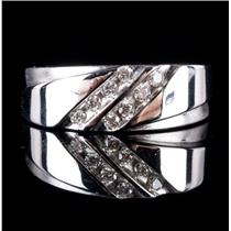 10k White Gold Round Cut Diamond Wedding / Anniversary Band .24ctw