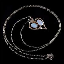 14k Yellow Gold Oval Cut Opal & Round Cut Diamond Heart Necklace .575ctw