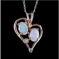 14k Yellow Gold Oval Cut Opal & Round Cut Diamond Heart Necklace .575ctw