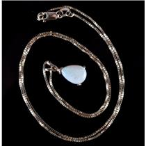 """14k Yellow Gold Pear Cut Opal Solitaire Pendant W/ 18"""" Chain 1.30ct"""