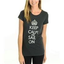 S NWT HIHO Caribbean Wear Keep Calm & Sail On Graffiti Graphic T-Shirt Deep Sea
