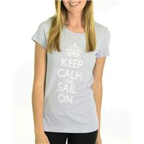 S NWT HIHO Caribbean Wear Keep Calm Sail On Graffiti Graphic T-Shirt French Blue