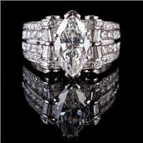 Stunning Platinum Marquise Cut Diamond Scroll Design Engagement Ring 4.94ctw
