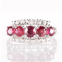 Vintage 1960's 18k White Gold Round Cut Ruby & Diamond Cocktail Ring 1.49ctw