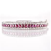 Vintage 1960's 18k White Gold Oval Cut Ruby & Diamond Bangle Bracelet 4.88ctw