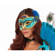 Beautiful Peacock Fancy Mask Eyeglass Frame Feathers Halloween Costume Accessory