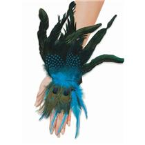 Beautiful Peacock Feather Feathered Glovettes Wrist Cuffs Costume Accessory