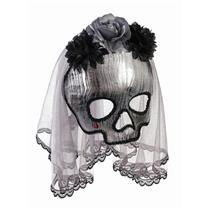 Women's Ghostly Spirit Skull Half Mask with Black and Gray Flowers and Lace Veil
