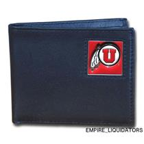 BRAND NEW - NCAA Siskiyou Buckle Utah Utes Black Leather Bi-fold Wallet -A