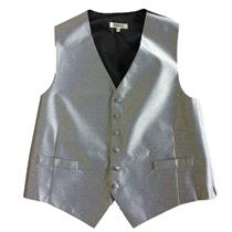 L Long NWT Lubiam Mens Formal Attire/Tuxedo Suit Silver Swirl Button Front Vest