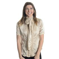 L NWT Di Vita Champagne Beige Silk Button Front Bow Tie Neck Short Sleeve Blouse