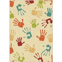 "46"" X 62"" Orian Rugs Orian Handprints Fun Kids' Area Rug - IVORY"