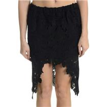NWT M REHAB Black Hi Low Hem Lined Floral Lace Skirt 100% Cotton Straight Lines