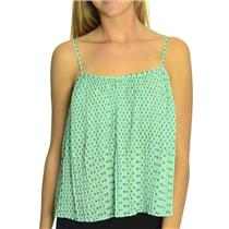 XXS BCBGeneration Aqua Green Pleated Tank Top Cami Blue Black Geo Print Pattern