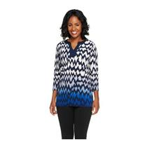 Susan Graver Size XXS Liquid Knit 3/4 Sleeve Chevron Print Ombre Tunic in Blue