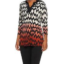 Susan Graver Size XXS Liquid Knit 3/4 Sleeve Chevron Print Ombre Tunic in Red