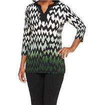 Susan Graver Size XXS Liquid Knit 3/4 Sleeve Chevron Print Ombre Tunic in Green