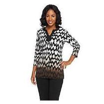 Susan Graver Size XXS Liquid Knit 3/4 Sleeve Chevron Print Ombre Tunic in Brown