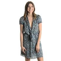 M Max Studio Navy Aqua Pink Geometric Print Short Sleeve Tie Front Dress 1911R50