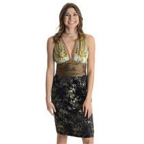Sz 4 NWT Phoebe Couture Floral Silk Blue Empire Waist Sleeveless V Neck Dress