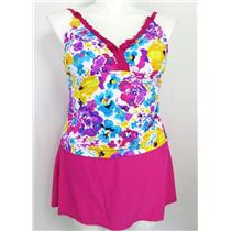 Catalina Women's Size 1X Floral Tankini Top w/ Skirt Panty Bottom