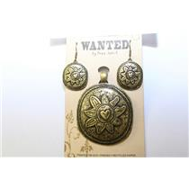 PENDANT MAGNETIC AND EARRING SET HANDMADE GLOWING SUN B-G #MPE1004BG