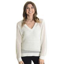 Sz XS Rag & Bone NY White 100% Cotton SOFT Open Knit V-Neck Med Weight Sweater