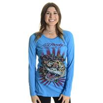 M NEW Ed Hardy Christian Audigier Electric Blue Tiger w/ Roses Long Sleeve Top