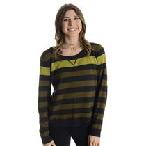 Sz 1 (S) M Michael Stars Green/Gray Striped Long Sleeve Wool/Cashmere Sweater