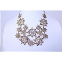 NECKLACE AND EARRING SET FILIGREE FLOWER W/GLASS #RNE4029AG