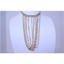 NECKLACE AND EARRING SET LAYERED CHAIN #RNE3627GD