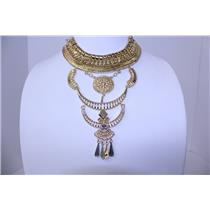 NECKLACE AND EARRING SET BIB STYLE CASTING LINK #BNE2845GD