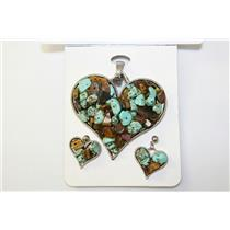 PENDANT AND EARRING SET HEART W/CHIP STONE BK-BR #CPE1008T-BR