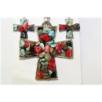PENDANT MAGNETIC AND EARRING SET CROSS W/CHIPSTONE BLK #CPE1000MUL