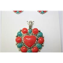 PENDANT AND EARRING SET HEART RED-TURQ #KPE3038H-AS