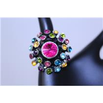 RING FLORAL CAST WITH RHINESTON #QR1041RH-MUL