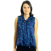 NWT XS Elizabeth And James Navy Blue Green Dice Jamie Tie Sleeveless Silk Blouse
