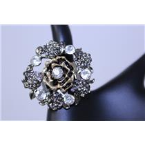 RING CASTED FLOWER W/CRYSTAL #QR1151HE