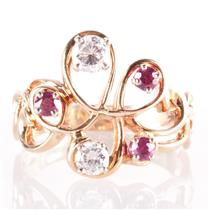 14k Yellow Gold Round Cut Diamond & Ruby Floral Cocktail Ring 1.02ctw