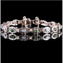 14k Yellow Gold Round Cut Emerald & Diamond Tennis Bracelet 1.15ctw
