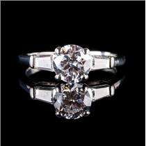 Platinum Round Cut Diamond Solitaire Engagement Ring W/ Accents 1.58ctw