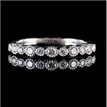 14k White Gold Round Cut Diamond Milgrain Wedding / Anniversary Band .29ctw