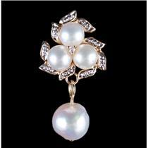 14k Yellow Gold Cultured Pearl & Diamond Huggie Dangle Earrings .025ctw