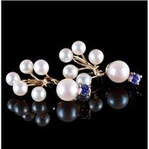 14k Yellow Gold Cultured Pearl & Tanzanite Clip On Floral Earrings .54ctw