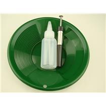 "1- 8"" Green Gold Pan 1- 5"" Bottle Snuffer 1-Pocket Magnet Pick up tool"