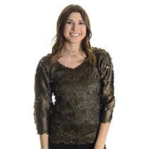 S/M NWT Zashi Crinkle 3/4 sleeve Top/Blouse Olive Green Brown Beige Undertones